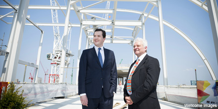 George Osborne and Sir Paul Nurse at teh Francis Crick Institute topping out ceremony