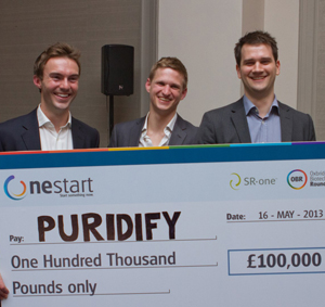 Tom Haywood, Oliver Hardick and Iwan Roberts of Puridfy, at the 2013 OneStart awards