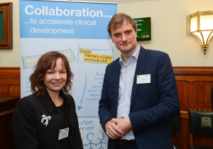 Deborah O'Neil, NovaBiotics and Ed Owen, Cystic Fibrosis Trust at the AMRC/BIA lunch